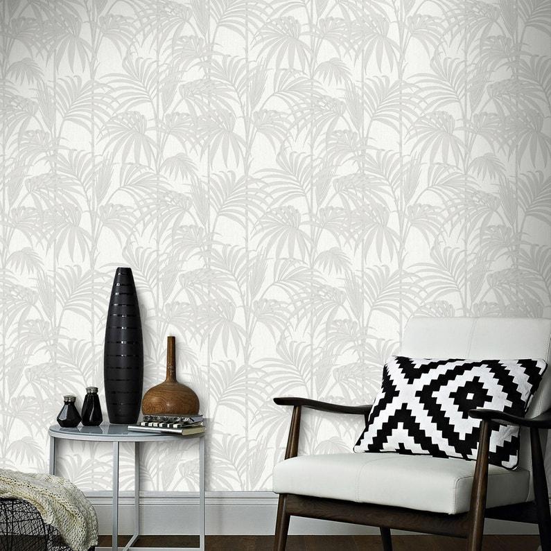 Papier Peint Vinyle Tropical Feuilles Blanc
