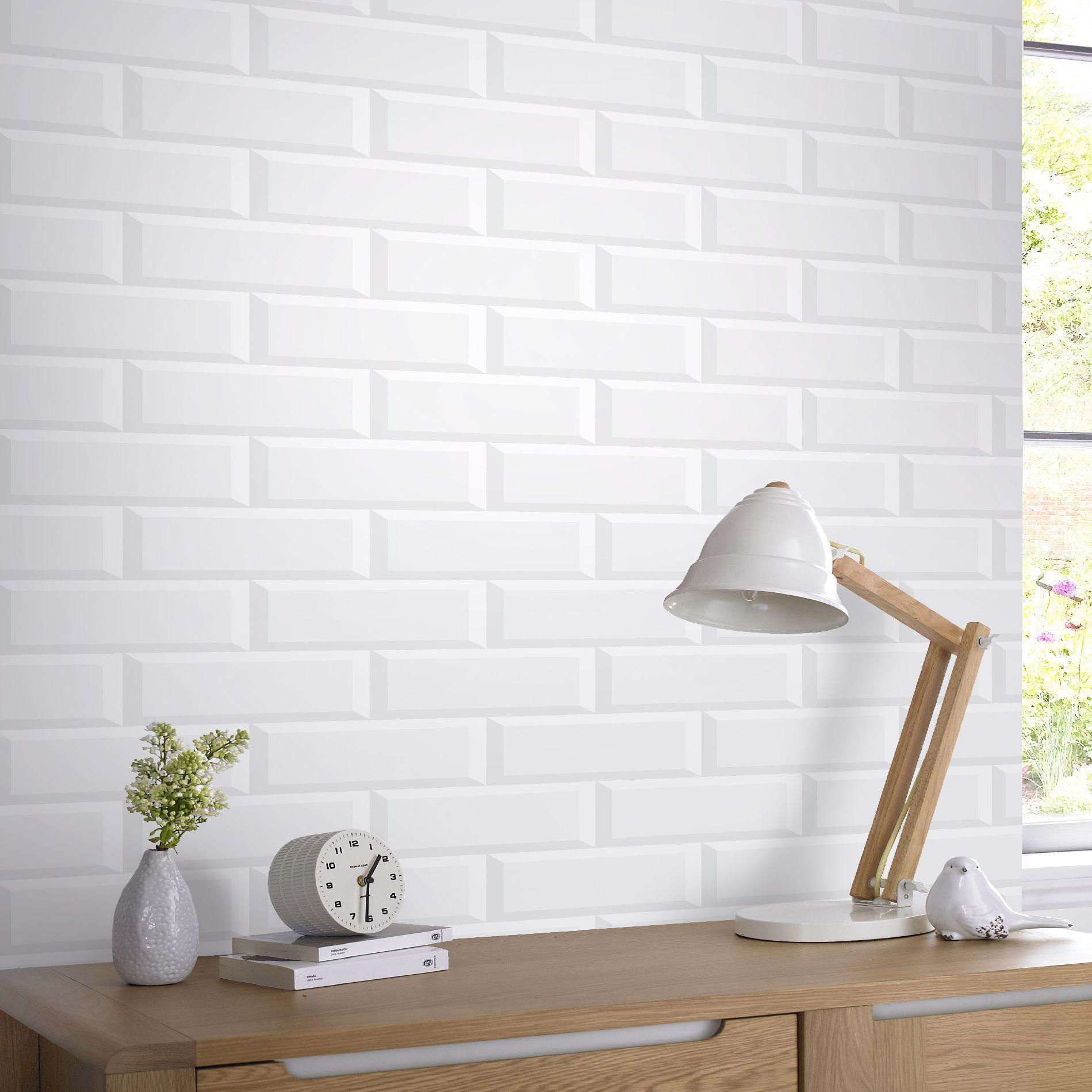 Papier Peint Brique Cuisine papier peint vinyle parisio briques métro blanc