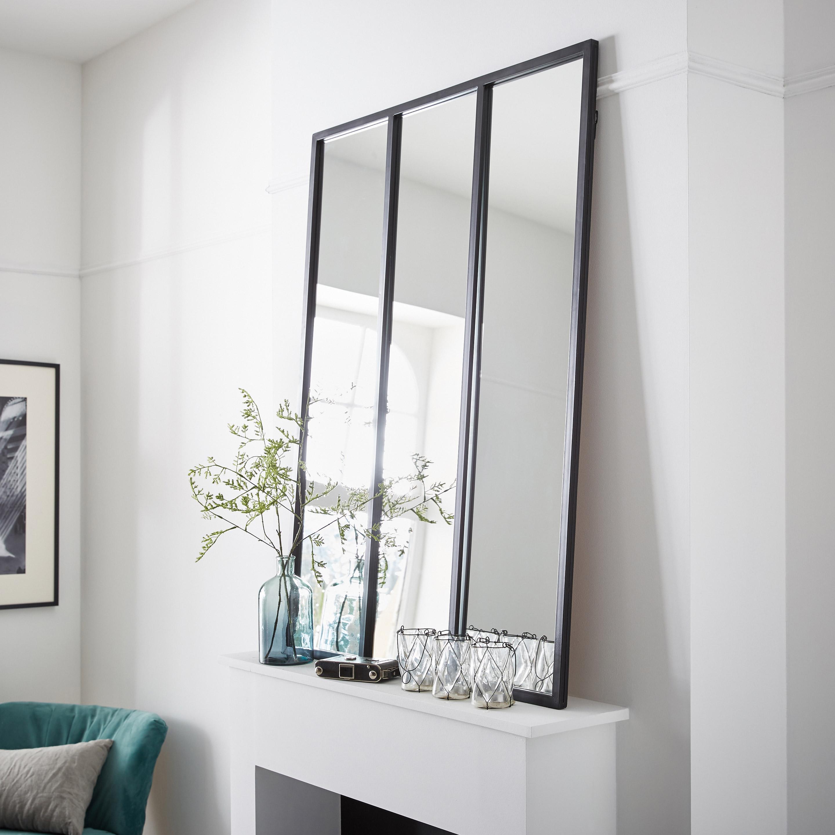 Miroir rectangulaire Atelier, noir, l.115 x H.85 cm
