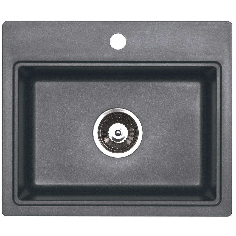 evier encastrer granit et r sine gris m tallis aquarius. Black Bedroom Furniture Sets. Home Design Ideas