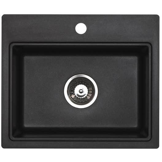 evier encastrer granit et r sine noir aquarius 1 cuve leroy merlin. Black Bedroom Furniture Sets. Home Design Ideas