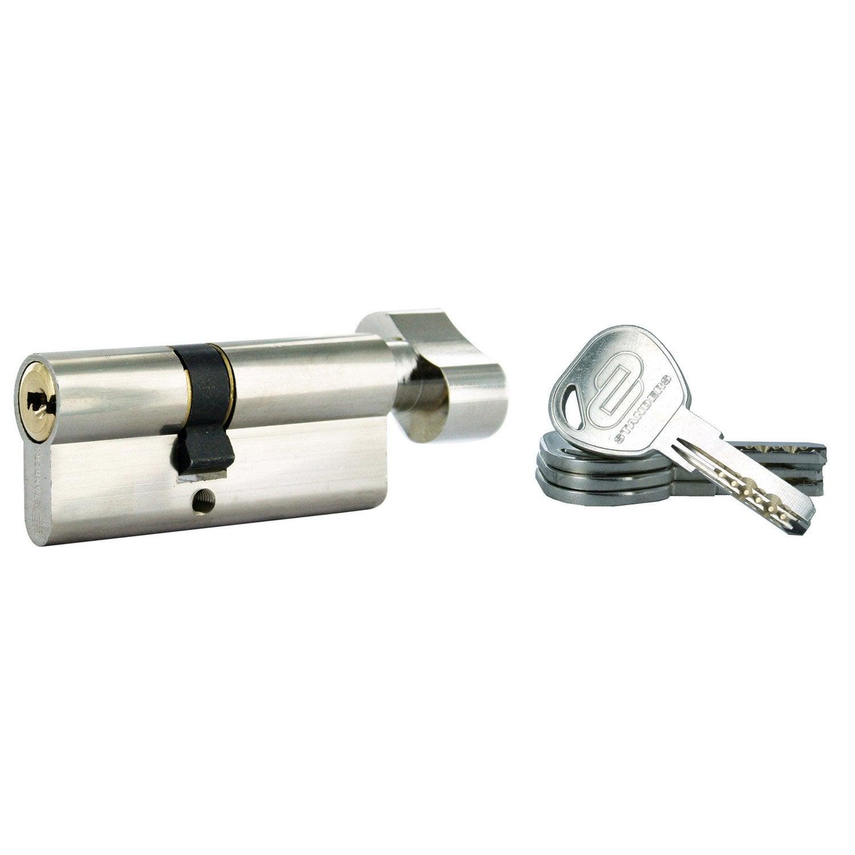 cylindre de serrure bouton s 39 entrouvrant mm standers mod le rouge leroy merlin. Black Bedroom Furniture Sets. Home Design Ideas