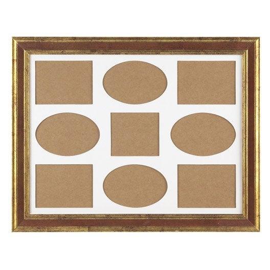 cadre multivues bois gaia 30 x 40 cm ocre leroy merlin. Black Bedroom Furniture Sets. Home Design Ideas