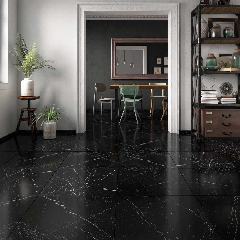 Carrelage Salle De Bain Marbre Noir ~ carrelage sol et mur noir effet marbre rimini l 60 x l 60 cm leroy