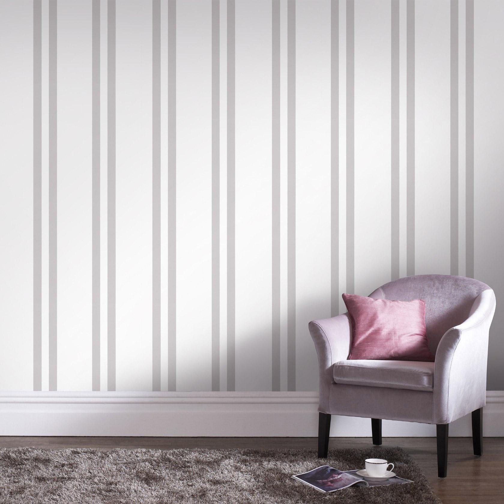 Papier Peint A Rayure Gris Et Blanc papier peint vinyle rayures doubles blanc/gris