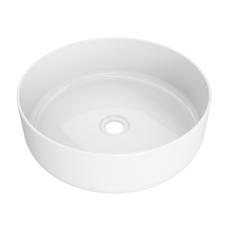 Vasque à poser porcelaine l.37 x P.9.5 cm Diam.36 cm blanc