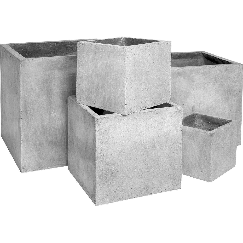 Pot fibre x x cm gris ciment leroy merlin - Pot de fleur carre ...