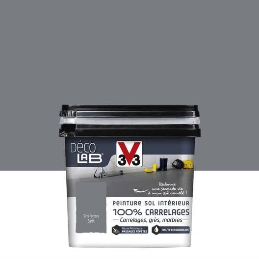 Peinture sol intérieur Decolab sol 100% carrelage V33, gris factory ...