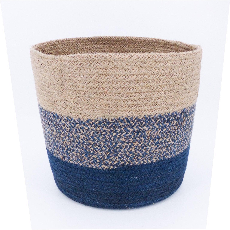 Panière décorative s fibre naturelle Kiko beige H.22 x l.25 x P.25 cm