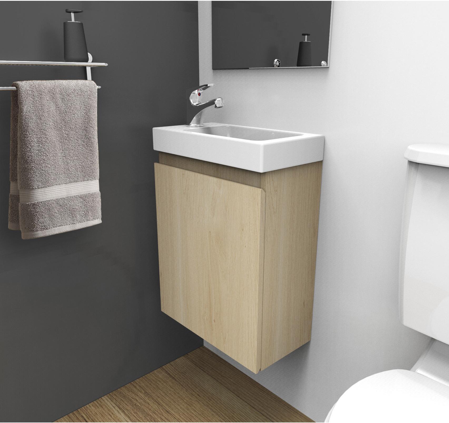 Comment Installer Un Lave Main Avec Meuble meuble lave-mains l.40 x h.48 x p.22 cm, décor chêne naturel, nelys