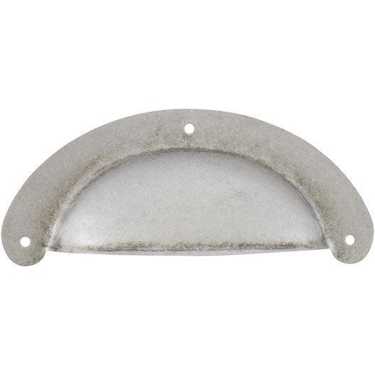 Poign e de meuble coquille acier forg entraxe 90 mm - Poignee meuble leroy merlin ...