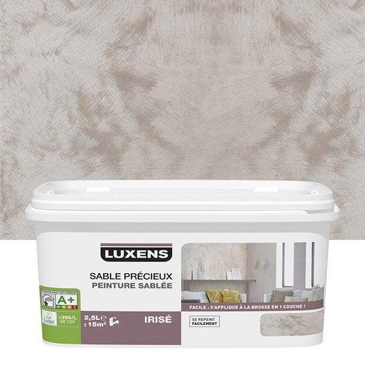 Peinture effet sable pr cieux luxens brun taupe 6 2 5 l leroy merlin for Peinture brun taupe
