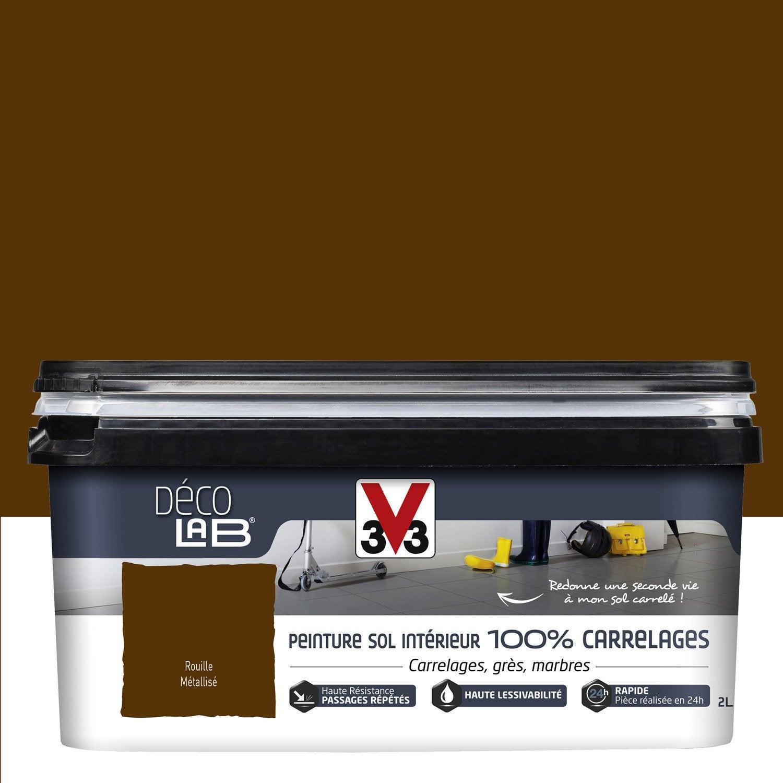 Peinture sol intérieur Decolab sol 100% carrelage V33, marron ...