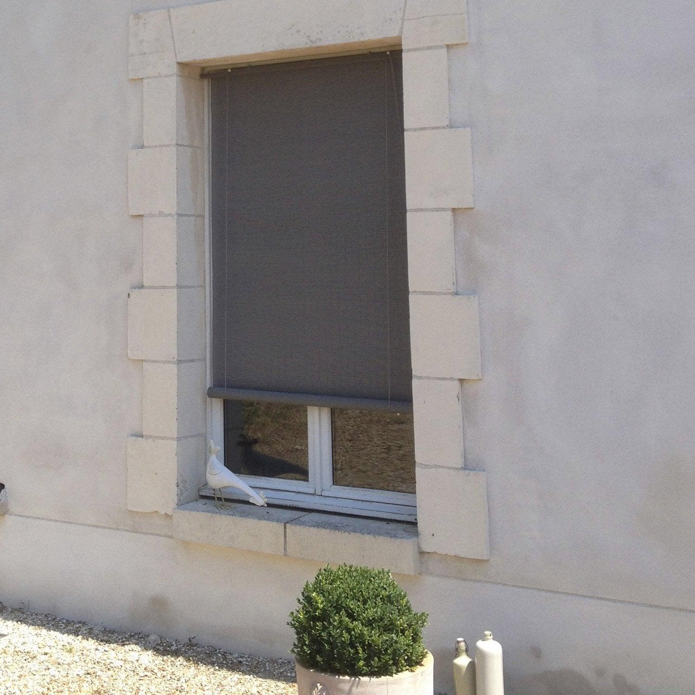 Charmant Store Enrouleur Tamisant Bois Tissé, Brun Taupe N°3, 100/110 X Images Etonnantes