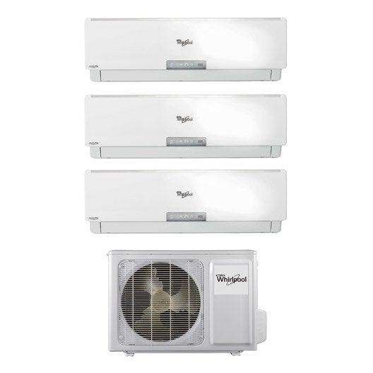 Climatiseur pack tri split inverter amd068 1 whirlpool 2x2500 3500w leroy - Clim inverter leroy merlin ...