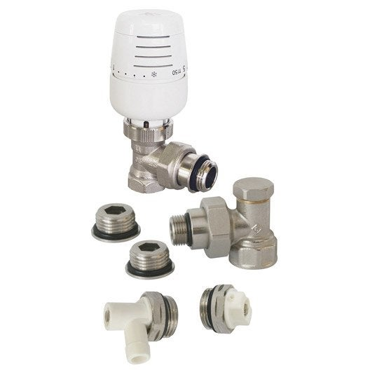 Kit robinet thermostatique equerre laiton blanc ECOPRO