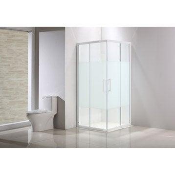 Porte de douche, angle carré, L.79 cm x l.79 cm, sérigraphié, Quad
