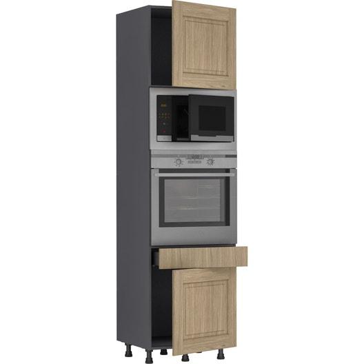 Colonne de cuisine prague ch ne 2 portes et 1 tiroir - Revetement mural cuisine leroy merlin ...