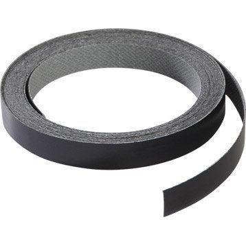 Chant de crédence stratifié Effet métal noir l.1.3 x L.500 cm
