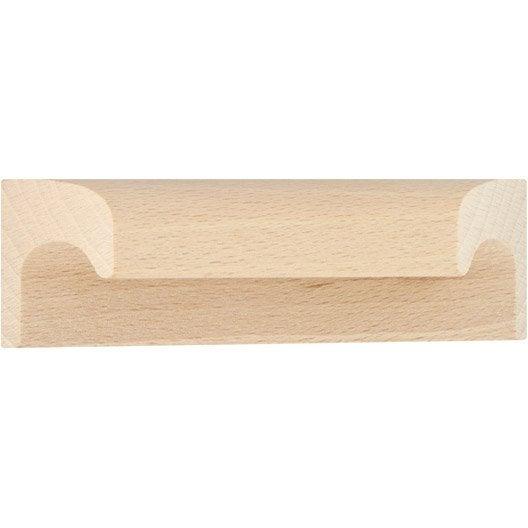 Poign e de meuble en bois brut applique entraxe 64 mm leroy merlin - Poignee de meuble entraxe 85mm ...