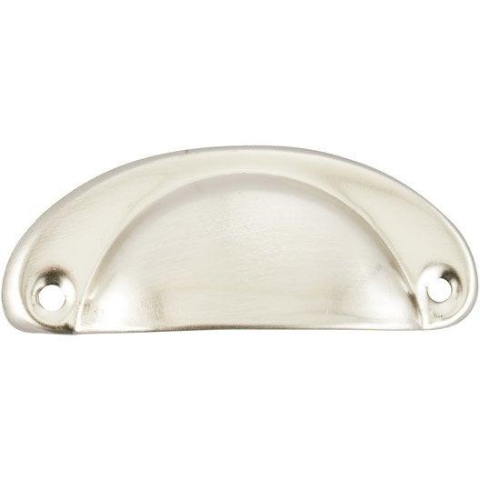 Poign e de meuble coquille acier nickel entraxe 67 mm for Poignee de meuble coquille