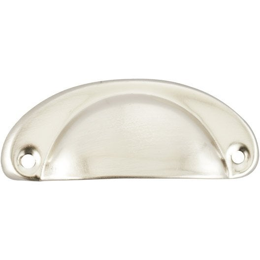 poign e de meuble coquille acier nickel entraxe 67 mm leroy merlin. Black Bedroom Furniture Sets. Home Design Ideas