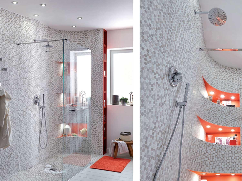 Comment realiser une douche en courbe leroy merlin for Carrelage adhesif salle de bain avec spot led 10 cm