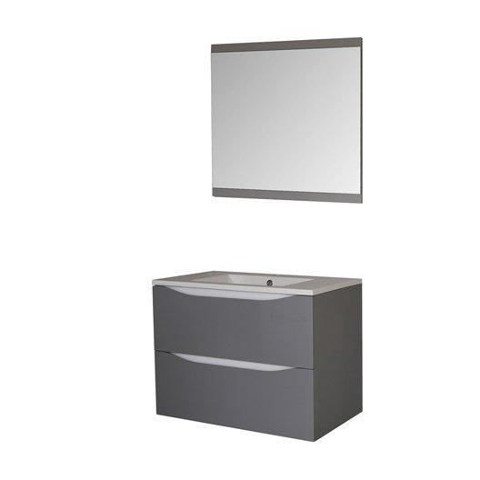 Meuble sous vasque miroir x x cm for Meuble salle de bain gris leroy merlin