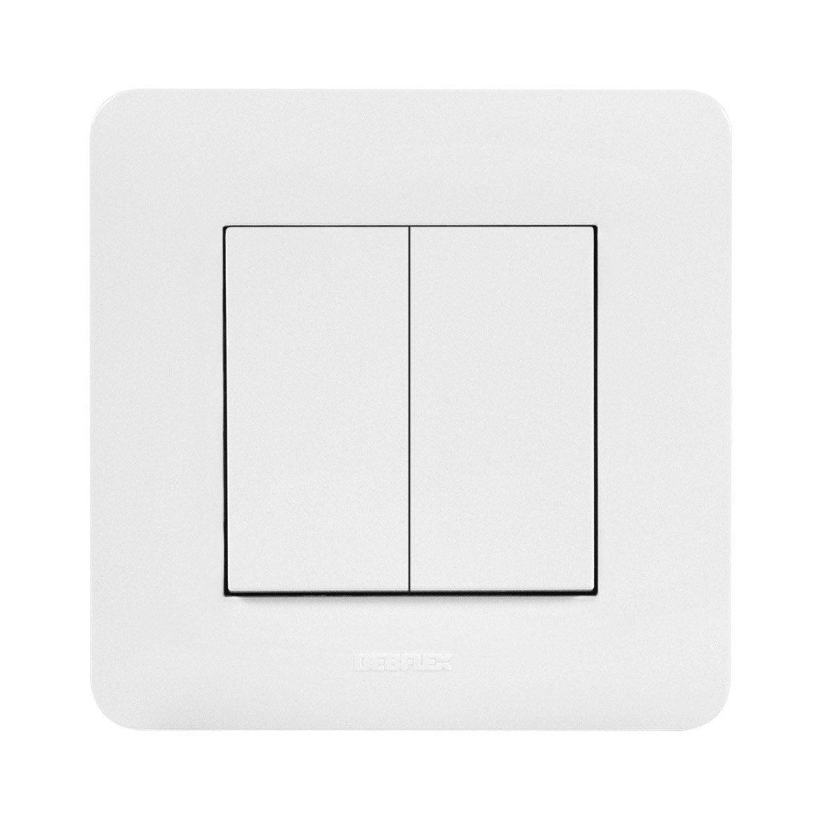 interrupteur connect blanc 2 boutons sans pile sans fil enocean debflex leroy merlin. Black Bedroom Furniture Sets. Home Design Ideas