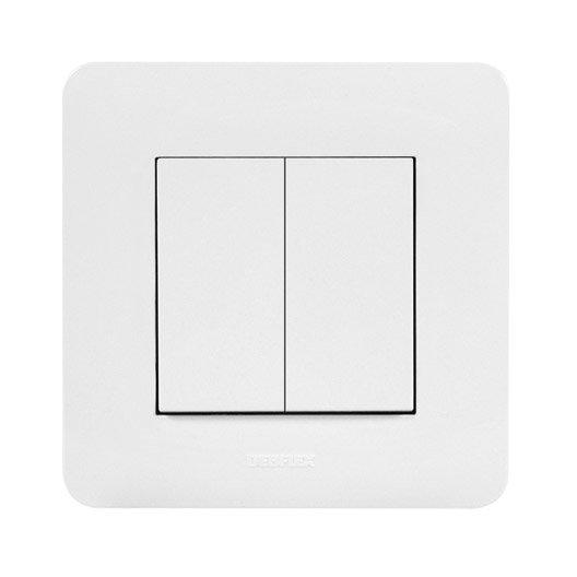 Interrupteur connect blanc 2 boutons sans pile sans fil - Objet connecte sans fil ...