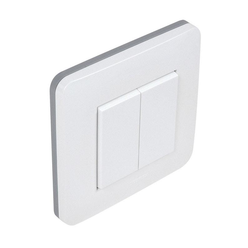 Interrupteur Connecté Blanc 2 Boutons Sans Pile Sans Fil Enocean Debflex