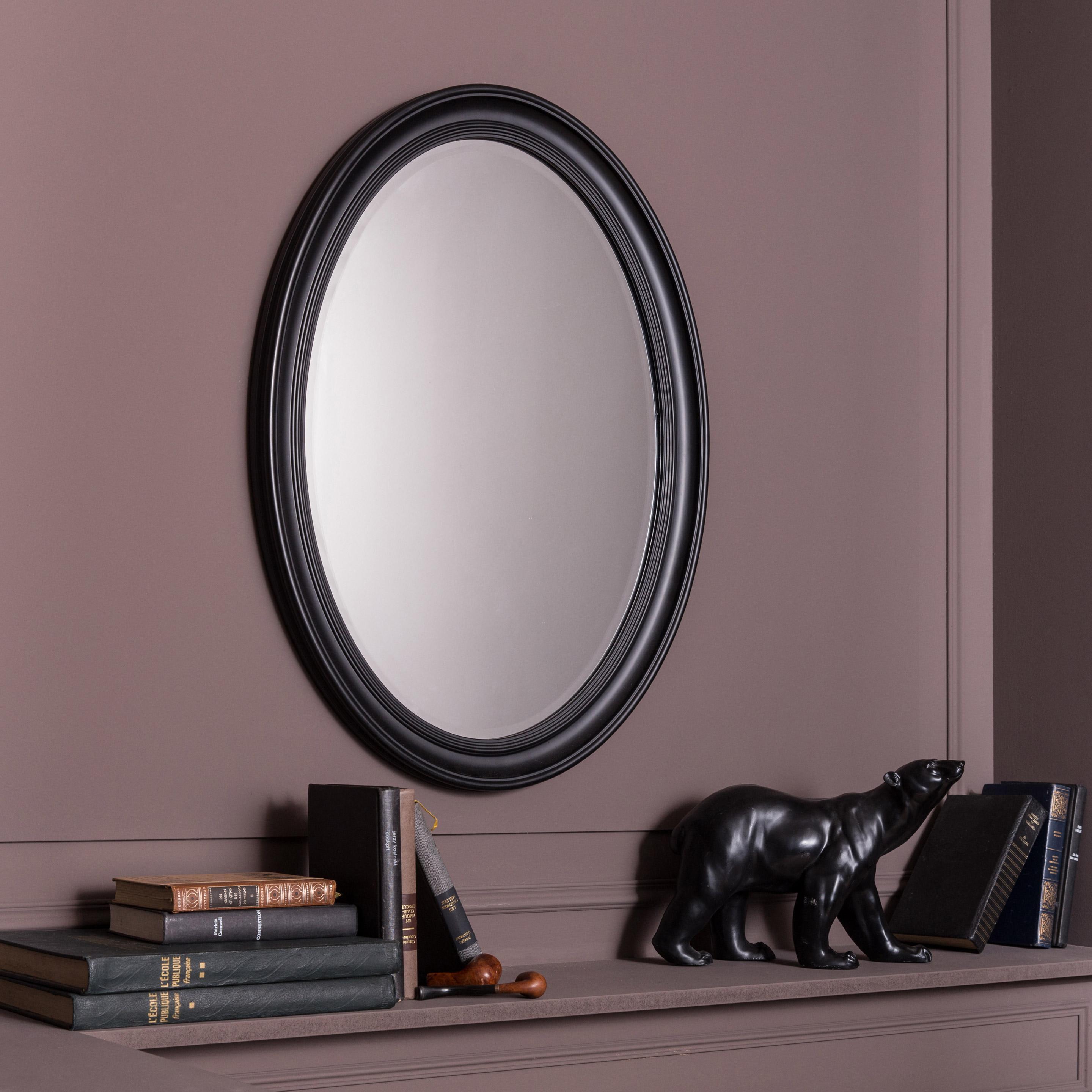 Miroir ovale Voltaire, noir, l.60 x H.80 cm