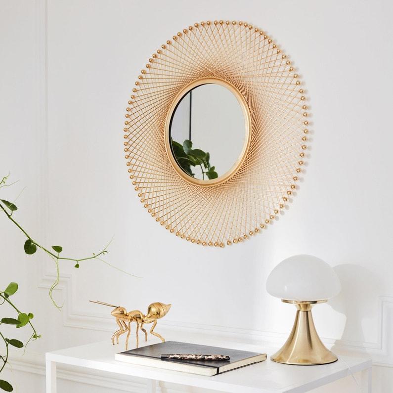 Miroir chic doré D 54 cm