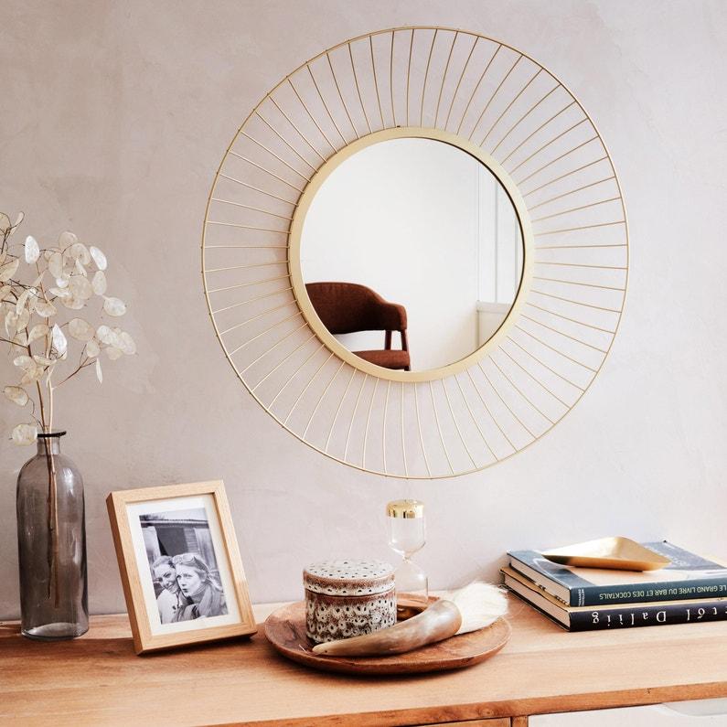 Miroir rond Kasteli, dorée, l.32 x H.32 cm