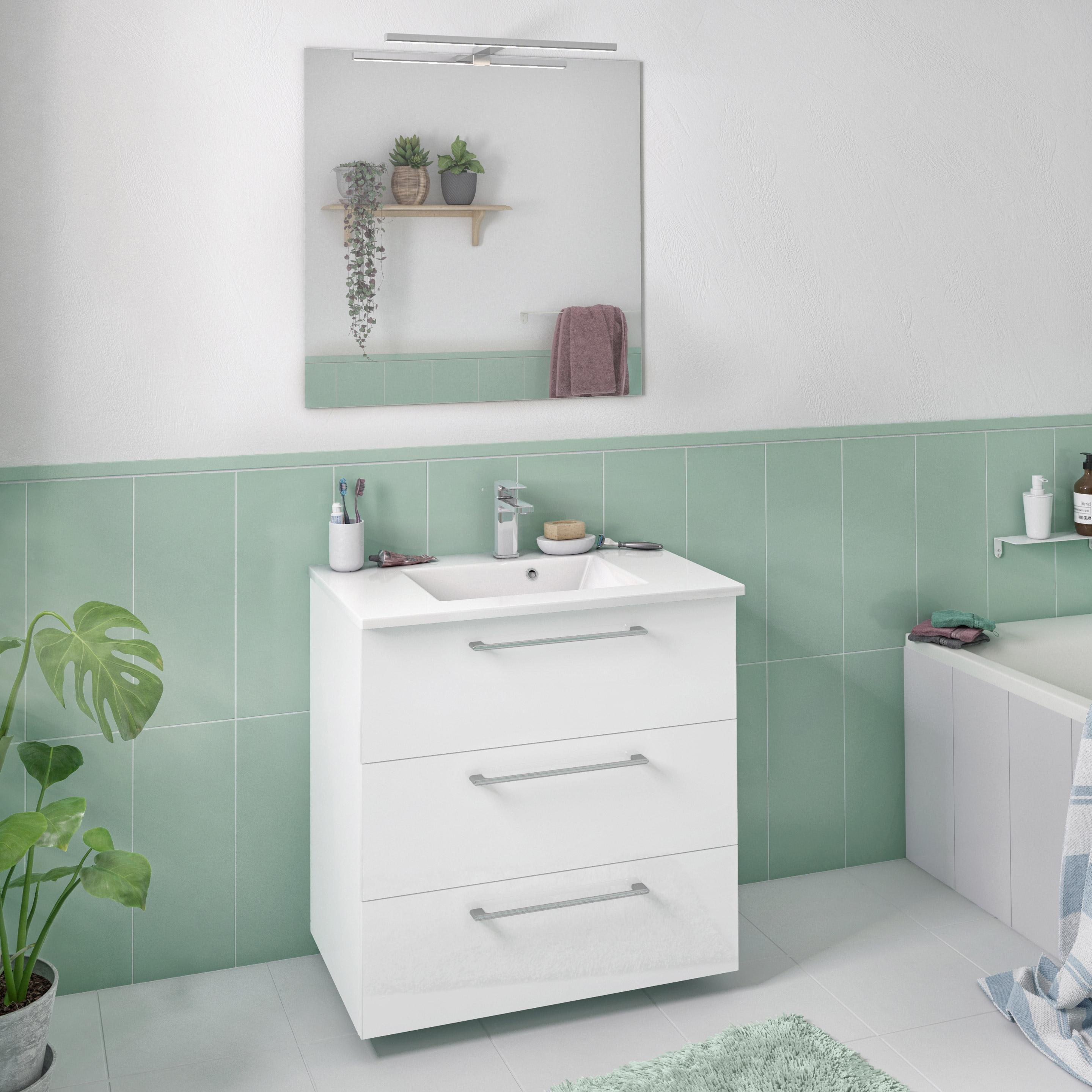 Meuble simple vasque l.20 x H.20 x P.20 cm, blanc 20d, Remix