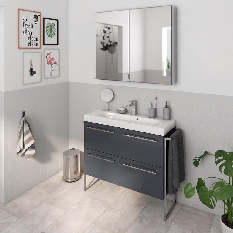 Meuble Simple Vasque L 90 X H 58 X P 33 Cm Gris Fonce Remix