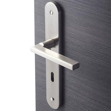 2 poignées de porte Lee trou de clé, aluminium, 195 mm
