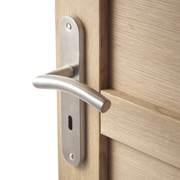 2 poignées de porte Margaud trou de clé, acier inoxydable, 195 mm