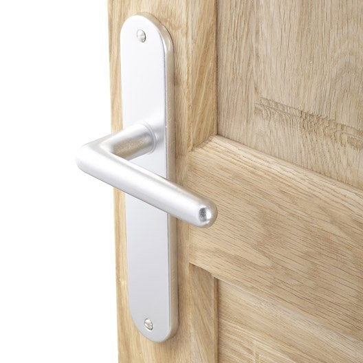 lot de 2 poign es de porte aby sans trou aluminium anodis 195 mm leroy merlin. Black Bedroom Furniture Sets. Home Design Ideas