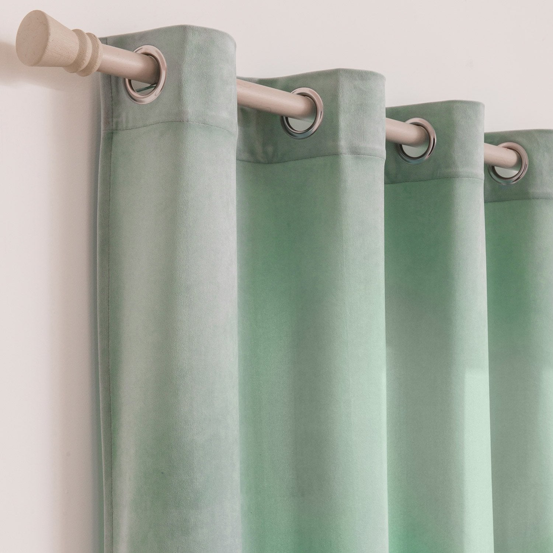 Rideau tamisant, Dubbo velours, vert sauge, l.140 x H.260 cm INSPIRE