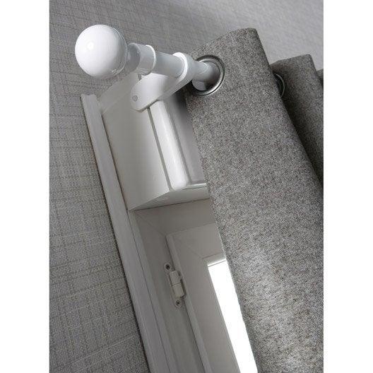 tringle rideau extensible city blanc satin de 60 100. Black Bedroom Furniture Sets. Home Design Ideas