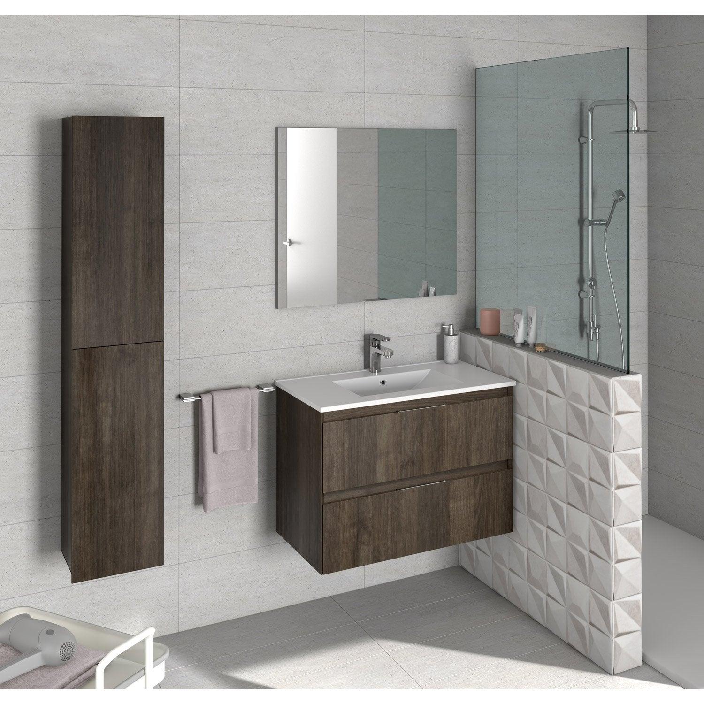 Meuble Vasque Leroy Merlin meuble sous-vasque l.79.5 x h.55.5 x p.45 cm, effet chataignier, talia