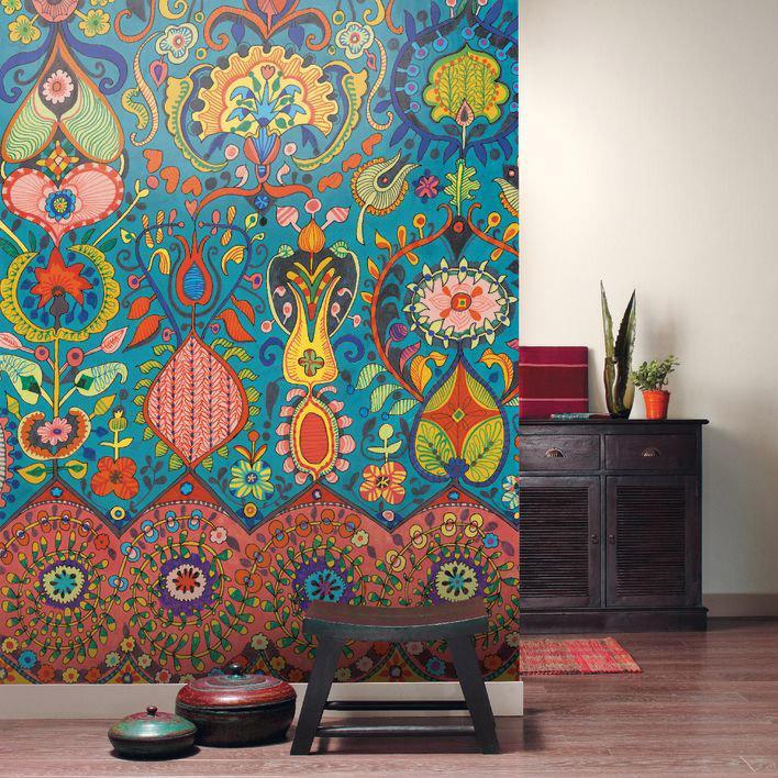 Papier Peint Intissé Acapulco Panoramique Pintura Multicolore