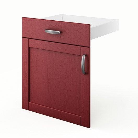 Porte tiroir de cuisine rouge fd60 rubis l60 x h70 x for Porte de cuisine hauteur 60 cm
