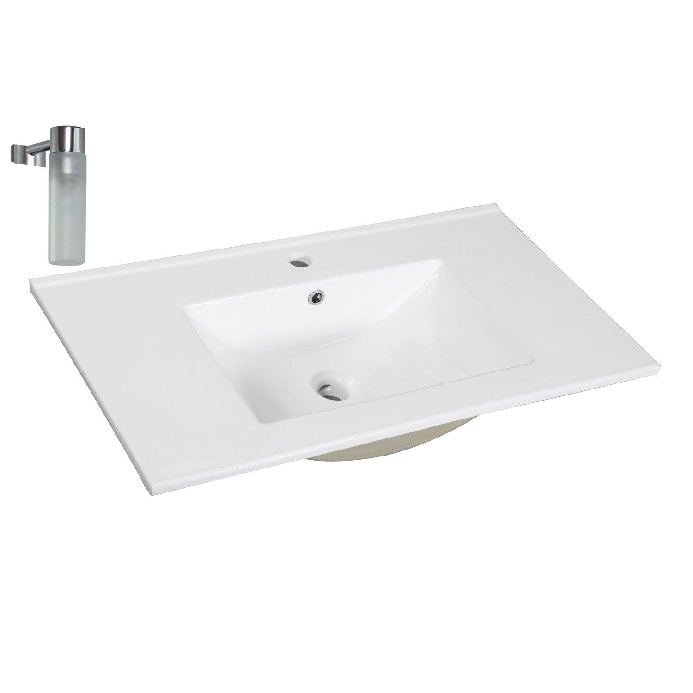 Lavabo Salle De Bain Ovale ~ plan vasque simple dado c ramique 61 cm leroy merlin