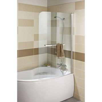 Pare-baignoire 1 volet courbe pivotant verre de sécu transparent SENSEA Purity3