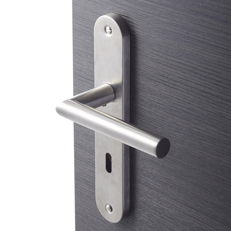 charmant 2 poignées de porte Sara trou de clé INSPIRE, acier inoxydable, 195 mm
