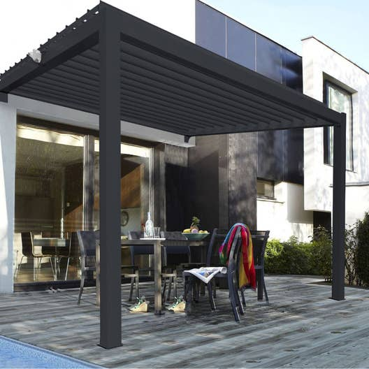 pergola adoss e consensus aluminium gris anthracite 12 m leroy merlin. Black Bedroom Furniture Sets. Home Design Ideas