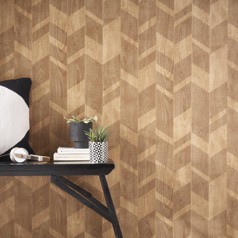 habiller les murs de votre intrieur avec du papier peint effet chevron bois