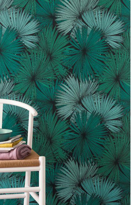 Papier peint intissé JUNGLE Coconut émeraude & noir